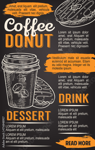 Wall mural Donut and coffee chalkboard poster template
