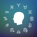 Horoscope circle with a male head - 176850148