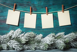 Four blank paper labels over Christmas background - 176850178