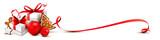 Weihnachtsgeschenke mit Plätzchen, Zuckerstange, Weihnachtskugel und Schleifenband - rot - 176851159