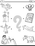 match people and objects coloring book - 176853133