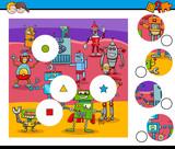 match pieces puzzle with robots - 176853157