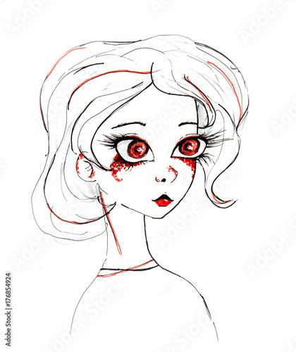 Manga style illustration, sketch - 176854924