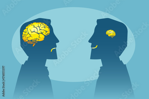 Vector of two man with different brain sizes looking at each other © Feodora