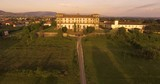 Aerial shot, gorgeous ancient palace Bellavista in Tuscany on sunset, Italy, 4K - 176855520