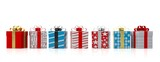 Fototapety Colourful gift boxes with shiny ribbons on white background. 3d illustration