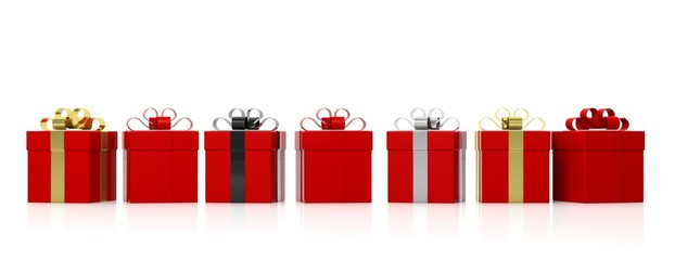 Red gift boxes with colourful ribbons on white background. 3d illustration