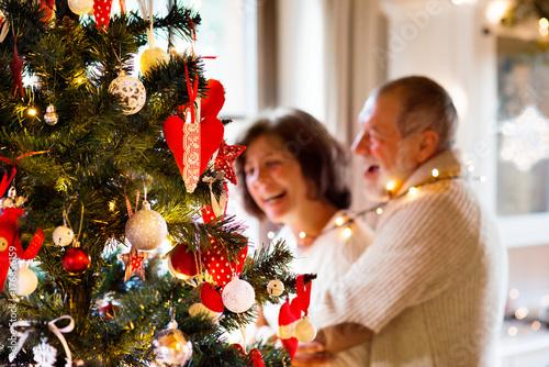 Senior couple looking at Christmas tree at home. Poster