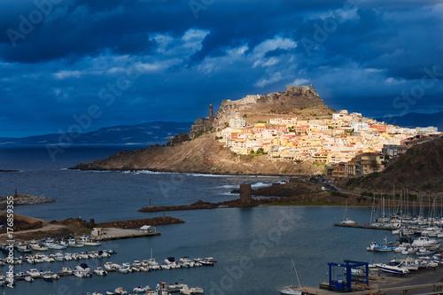 Castelsardo town on seashore of Sardinia in Italy