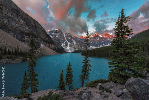 Sunrise at Moraine lake in Canadian Rockies, Banff National Park, Canada. © lucky-photo