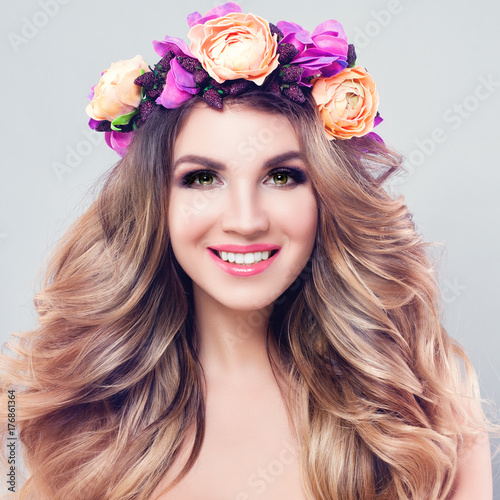 Fridge magnet Blossom Beauty. Beautiful Woman Spa Model with Wavy Blonde Hair, Makeup and Colorful Flowers Wreath, Perfect Female Face Closeup