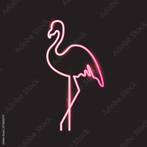 Flamingo neon light. Vector illustration EPS 10