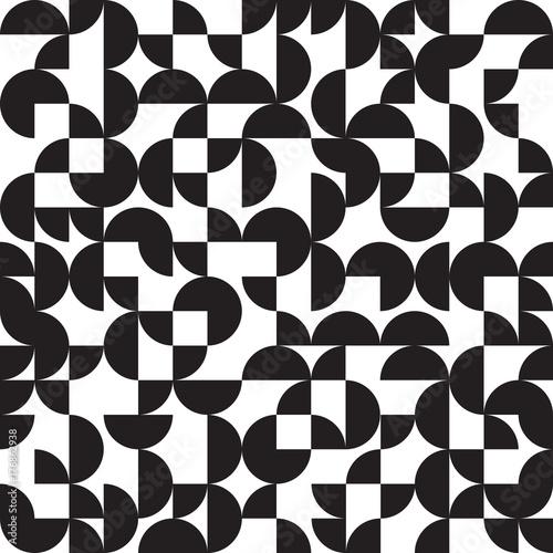 fototapeta na ścianę Geometric background, circles, black and white, seamless pattern, vector illustration