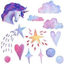 Unicorn  Watercolor Objects Party Decoration Set Sticker