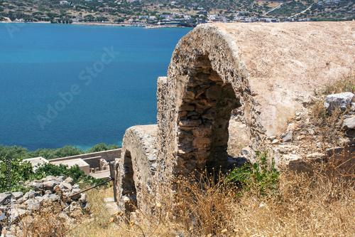 Ancient brown ruins near the sea on Crete in Greece
