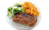 Steak with potatoes and fresh salad - 176869902
