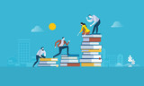Fototapety Flat design style web banner for the path to success, levels of education, staff training, specialization, learning support. Vector illustration concept for web design, marketing, and print material.