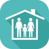 Icône d'une famille protégée par un toit de maison - 176870987