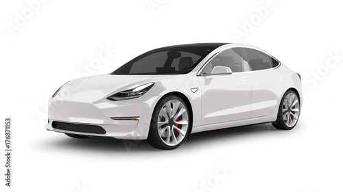 Sticker Electric Car Isolated on White