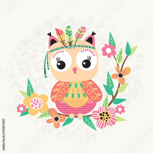 Foto op Plexiglas Uilen cartoon Cute owl and flowers