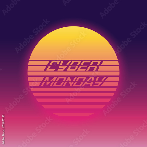 Cyber Monday sale vector banner for advertising and promotion. Retro 80s digital style.