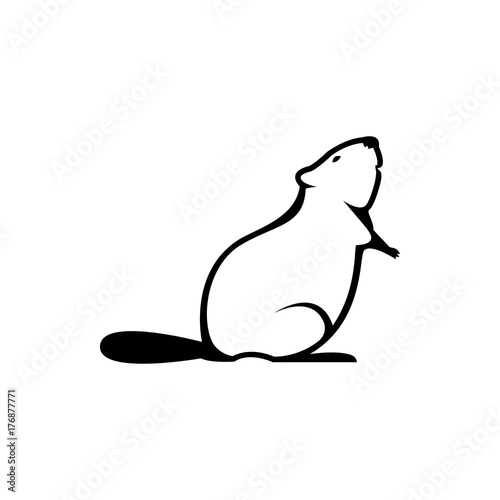 Vector Beaver Silhouette View Side For Retro Logos Emblems Badges
