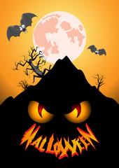 halloween vertical poster in orange tones