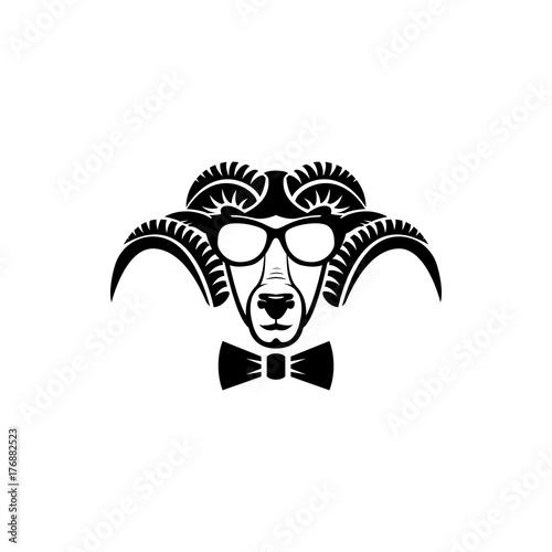 vector ram head face for retro logos emblems badges labels