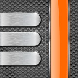 Metal perforated background with orange glass plate - 176882795