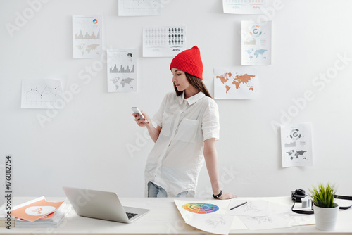 Freelancer working  at the desk Poster