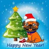 Illustration, Christmas orange dog sitting near a Christmas tree in a Santa Claus hat - 176884780