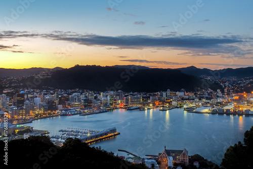 Night view from Mt Victoria over Wellington, New Zealand. Poster