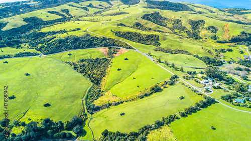 Papiers peints Vert chaux Aerial view on a farmland at sunny day. Whangaparoa peninsula, Auckland, New Zealand