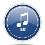Jazz music blue round web icon. Circle isolated internet button for webdesign and smartphone applications. - 176889352