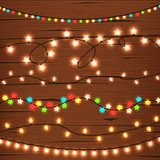 String Lights On Wooden Wall Wall Sticker