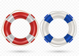 Illustration of lifebuoy ring with rope isolated on transparent background