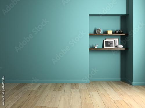 Fridge magnet Interior modern design room 3D illustration