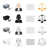 Barbed wire in prison, video surveillance, judge s appearance, scales of justice. Prison set collection icons in cartoon black monochrome outline style vector symbol stock isometric illustration web. - 176891726