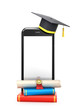 concept of online learning. Diploma books and a hat for the student are placed near the smartphone. 3d illustration