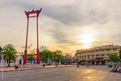 Giant swing landmark of bangkok city in sunset time / Sao Ching Cha landmark in Poster