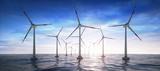 Windpark im Ozean im Sonnenuntergang - 176894166