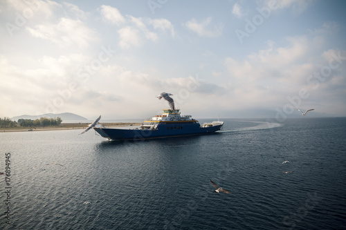 ferry at sea and seagulls.. Poster