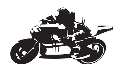 Road motorcycle rider, abstract vector silhouette