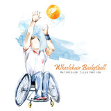 Watercolor illustration. Wheelchair Backetball Paralympic sport. Figure of disabled athlete in the wheelchair with a racket. Active people. Disability and social policy. Social support. - 176897171