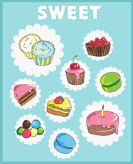 Icons on the theme of sweets. Cake icons