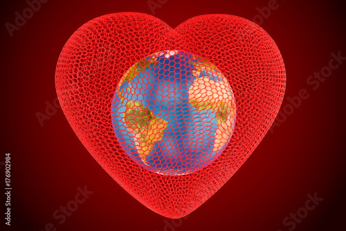 Heart with globe Earth inside concept, 3D rendering
