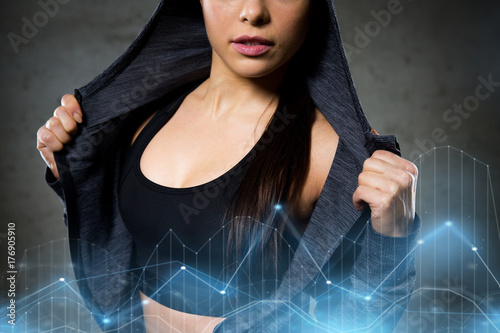 close up of woman posing and showing sportswear
