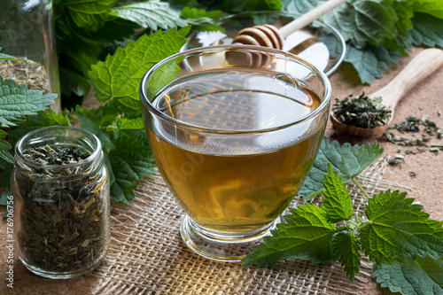 A cup of nettle tea with fresh and dry nettles in the background