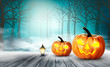 Scary Halloween background with pumpkins. Vector.