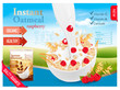Instant oatmeal with berry advert concept. Milk flowing into a bowl with grain and raspberry. Vector.